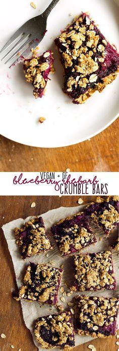 vegan blueberry rhubarb crumble bars   love me, feed me
