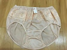 LACY VINTAGE STYLE SILKY NYLON GUSSET LACY PANTIES PINK BRIEFS HI KNICKERS XL