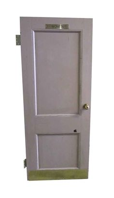 Wooden two panel women's room bathroom door with a kick plate. The door is painted pinkish tan on one side and is white […]