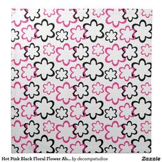 Hot Pink Black Floral Flower Abstract Printed Napkin