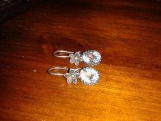 Antiqued sterling silver blue topaz dangle earrings