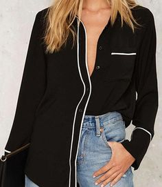 Single Breasted Shirt / #Blouse With White Stripes