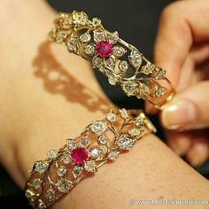 Such a lovely duo of florals bracelets set in yellow gold with diamonds and non heated birman rubies, the end of century, from upcoming auction at estimate Ruby Bangles, Diamond Bracelets, Ankle Bracelets, Gold Bangles, Sterling Silver Bracelets, Charm Bracelets, Silver Earrings, Bracelet Designs, Luxury Jewelry