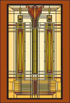 Art Deco glas in lood Frank Lloyd Wright. Stained Glass Panels, Stained Glass Patterns, Leaded Glass, Stained Glass Art, Mosaic Glass, Craftsman Interior, Craftsman Furniture, Craftsman Style, Frank Lloyd Wright