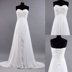 New White / Ivory Beach Wedding Dress Brides Long Dresses chiffon wedding dress bridal dress formal dress prom dress