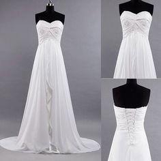 New White / Ivory Beach Wedding Dress Brides Long Dresses chiffon wedding dress bridal dress formal dress prom dress