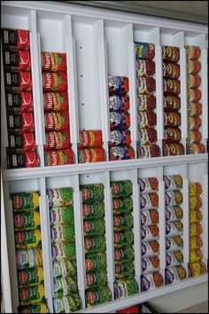 Maximum your food storage capacity by building this rotating canned food system!