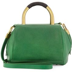 Hare + Hart Mini Leather Satchel Bag ($191) ❤ liked on Polyvore featuring bags, handbags, hunter gre, genuine leather handbags, satchel purse, green handbags, green leather handbag and genuine leather purse