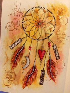 Lifebook week 4 art journal page- dream catcher