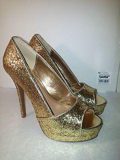 C Label Jocelyn-55 Womens Size 8.5 Gold stiletto Open Toe Pumps Heels Shoes  .99 starting bid