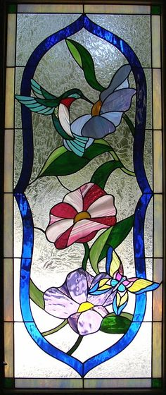 'Hummingbird & Morning Glories' stained glass by Kelley Studios
