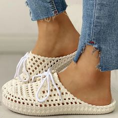 Style: Daily,Casual Item Slippers Upper Material Polyester Toe: Closed Toe Closure Type: Slip-On Heels: Flats Color: White, Pink, Black, Beige Crochet Flats, Crochet Shoes Pattern, Shoe Pattern, Crochet Bikini, Ankle Strap Wedges, Strap Heels, Low Heel Sandals, Pattern Fashion, Lace Up
