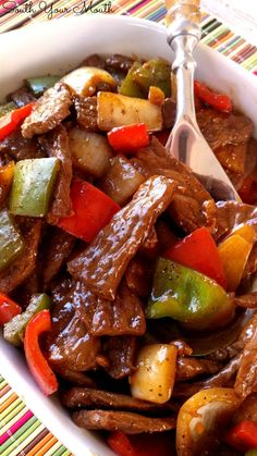 Super easy recipe with sauteed steak strips, peppers and onions. P… Pepper Steak! Super easy recipe with sauteed steak strips, peppers and onions. PERFECT over rice! Beef Steak Recipes, Crock Pot Recipes, Meat Recipes, Asian Recipes, Cooking Recipes, Beef Steaks, Budget Cooking, Vegetarian Cooking, Kitchen Recipes