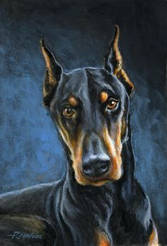 Spartacus Painting by Richard De Wolfe - Spartacus Fine Art Prints and Posters for Sale Animal Paintings, Animal Drawings, Doberman Pinscher Dog, Doberman Love, Purebred Dogs, Dog Portraits, Dog Art, Pet Birds, Large Dog Breeds