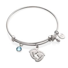 This stunning bangle is adorned with our famous Baby Feet charm. Such a cute new mommy gift ❤️