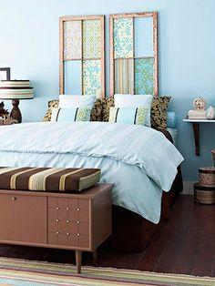 Dicas da Vila do Artesão - Cabeceira de cama com molduras de janela revestidas com tecido