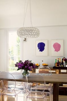 Farm table + modern lucite chairs. How to style my farm table coming soon!