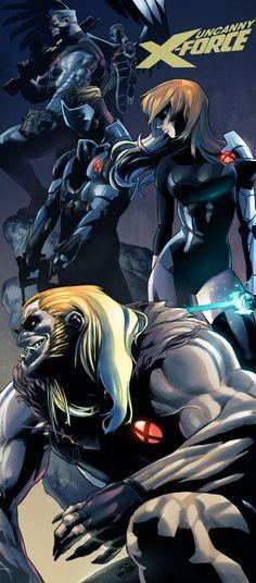 Uncanny X-Force alternate line up including Cable, Magik, Archangel, Maverick & Sabretooth by Christian Santos