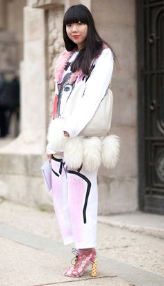 Pairing Socks with Peep-Toe Sandals is#Trending at theStreet Style of Spring Summer 2014ParisCouture #Fashion