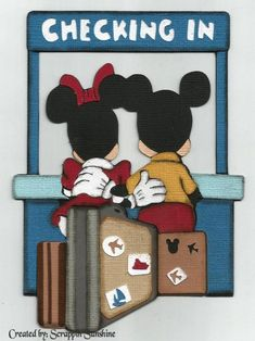 DISNEY - Checking In Hotel - Mickey Minnie - Premade Scrapbook Paper Piecing for Pages - SSFF