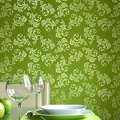 Wall Stencil Alessa Scroll, DIY Allover pattern better than wallpaper #CUTTINGEDGESTENCILSCOM