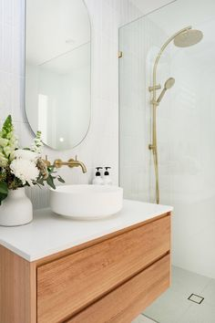 Bathroom decor for your bathroom remodel. Discover bathroom organization, bathroom decor ideas, bathroom tile ideas, bathroom paint colors, and more. Brass Bathroom, Bathroom Renos, Laundry In Bathroom, Bathroom Renovations, Small Bathroom, The Block Bathroom, Natural Bathroom, Budget Bathroom, White Bathroom