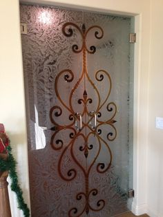 Furniture,Awesome Glass Door Complete With Wrought Iron And Cool Chrome Door Knobs Also Beautiful Carving On Glass Door,Vintage Exterior Wrought Iron Door Designs Wrought Iron Security Doors, Wrought Iron Doors, Etched Glass Door, Glass Doors, Glass Shower Panels, Pub Decor, Home Decor, Apartment Decoration, Grill Door Design