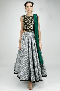 Black and white embroidered cut out anarkali with green dupatta available only at Pernia's Pop-Up Shop.