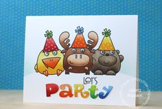 Card by PS DT Laura Bassen using PS Sassy Letters dies, Chubby Chums, Noggin Toppers