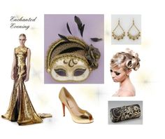 """Gold, Black, and Ivory Evening Gown Masquerade"" by costumelicious on Polyvore, inspired by one of our masquerade masks    #Masquerade"