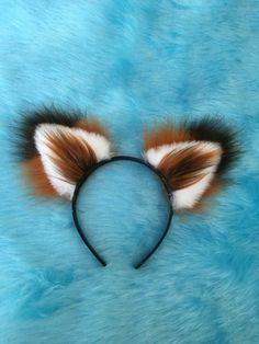 Fox Ears Long Fur on a headband Unisex by Fistyfurs. by Feistyfurs
