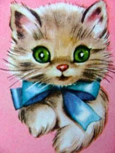 Vintage Valentine Cards, Cat Valentine, Kitten Tattoo, Kitsch Art, Cute Animal Illustration, Animal Illustrations, Cute Cats And Kittens, Kitty Cats, Cat Cards