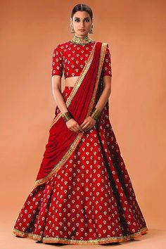 Women s Clothing - Bollywood Replica - Wedding Wear Red Lehenga Choli - WCRed - PRODUCT Details : Style : Semi-Stitched Bollywood Inspired Lehenga Choli / Part Indian Lehenga, Lehenga Sari, Lehenga Style, Lehnga Dress, Brocade Lehenga, Sabyasachi, Lehenga Choli Designs, Ghagra Choli, Sharara