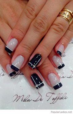 Black and grey nail art design