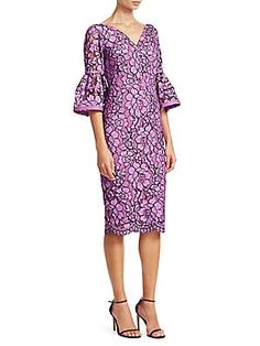 Lela Rose Corded Lace Flounce Sleeve Dress Lela Rose, Cold Shoulder Dress, Dresses With Sleeves, Long Sleeve, Lace, Style, Fashion, Swag, Moda