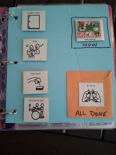 Mini visual schedule - Shows the activities to be worked on, including the current activity in the Now box. When the activity is finished, the child moves it to the All Done pocket.