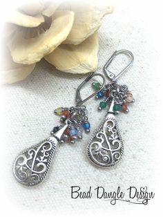 Gemstone Filigree Beaded Earrings #588E