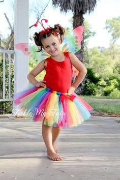 Rainbow Butterfly Tutu Costume by TickleMyTutu on Etsy, $37.95