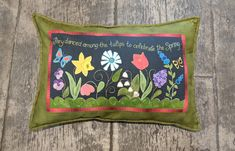 Wool applique Spring Blessing pillow in series by Pastime Pieces. Finished size: x Wool Applique, Blessing, Throw Pillows, Quilts, Sewing, Pattern, Cotton, Inspiration, Biblical Inspiration