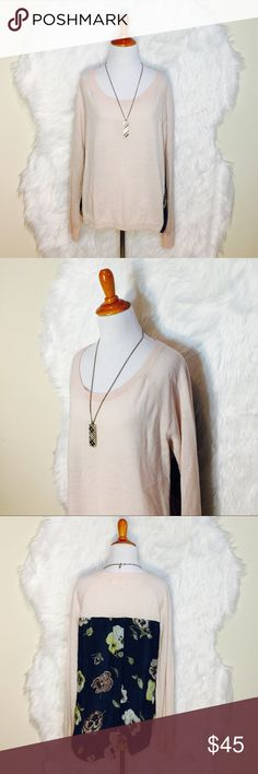 """Anthropologie Moth Pink Floral Sweater A cozy sweater is perfect balance between fitted and draped. Blue silk floral on back & hi-low. Laid flat across @ bust: 20"""", Length front: 22.5"""", length back: 28.5"""". NWOT Anthropologie Sweaters Crew & Scoop Necks"""