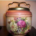 English Ceramic Stoneware Biscuit Jar w/ Brass Top.