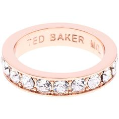 Ted Baker Claudie Crystal Ring , Rose Gold (4085 RSD) ❤ liked on Polyvore featuring jewelry, rings, rose gold, diamante ring, crystal jewelry, crystal band ring, diamante jewellery and ted baker jewellery