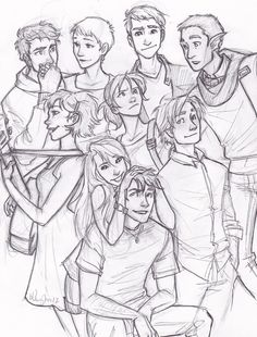 Hmm... From the back row to the front, left to right, I see... Ivander, Nicolette, Hugo, some elf guy that's probably Raphael in disguise, Quinn (her true appearance), Heidi, Ravenna, Clovis, and Calum. xD This is so weird...