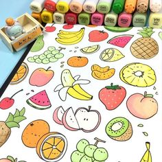 I colored something healthy and cute for you today - A Kawaii Fruit Doodle! ^-^ This doodle is also available for you to color in my new KiraKira Coloring Bo. Kawaii Drawings, Doodle Drawings, Easy Drawings, Doodle Art, Drawing Sketches, Book Drawing, Drawing Ideas, Kawaii Doodles, Cute Doodles