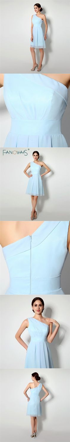 In Stocks One Shoulder Chiffon Bridesmaid Dresses Zipper Back Pleats Knee  Length A-line Bridesmaid 0e797110ee6d