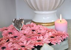 Fresh gerberas & candle. Pink power! <3