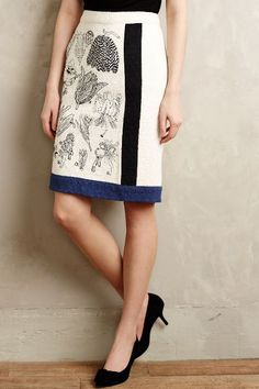 Beautiful skirt - has the botanic names of the flowers printed on it.