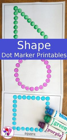 Free Shape Dot Marker Printables - 15 shapes for kids to have fun with dot markers or hands-on covering - Learn the shapes. Preschool Learning Activities, Free Preschool, Preschool Printables, Preschool Shapes, Shape Activities For Preschoolers, Shape Activities Kindergarten, Montessori Education, Sensory Activities, Shapes For Toddlers