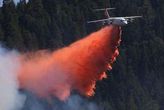 Estados Unidos. Un avión cisterna deja caer su carga de retardante de fuego en un incendio forestal cerca de Pollack Pines, California. El mundo bajo el lente - Grupo Milenio