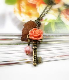 Vintage Style Key Necklace Peach Flower Pendant by jewelrybyNaLa, $33.50.. Goes great with my ring